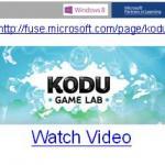 Machine generated alternative text: Windows 8 Learning ()http:Ilfuse. microsoft. com/page/kod u.\I1(ftL KODU. GAME LAB. —Watch Video